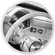 1957 Chevrolet Corvette Steering Wheel Emblem Round Beach Towel