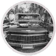 1960 Cadillac Eldorado Biarritz Convertible Painted Bw Round Beach Towel