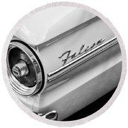 1963 Ford Falcon Futura Convertible Taillight Emblem Round Beach Towel