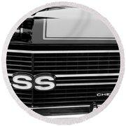 1970 Chevrolet Chevelle Ss Grille Emblem Round Beach Towel