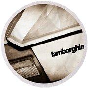1982 Lamborghini Countach 5000s Taillight Emblem Round Beach Towel