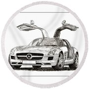 Gull Wing Mercedes Benz S L S Gull-wing Round Beach Towel