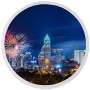 4th Of July Firework Over Charlotte Skyline Round Beach Towel by Alex Grichenko