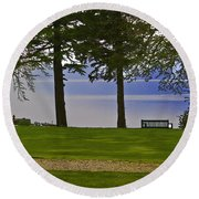 A Bench And Path On The Shore Of Loch Ness In Scotland Round Beach Towel