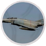 A Hellenic Air Force F-4e Phantom Round Beach Towel