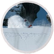 A Male Snowboarder Makes A Series Round Beach Towel