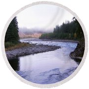 A Mountain Stream Round Beach Towel