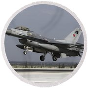 A Turkish Air Force F-16c Fighting Round Beach Towel