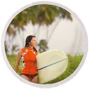 A Woman Carries A Surfboard To The Beach Round Beach Towel