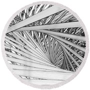 Abstract Urban City Building In Chaos Round Beach Towel
