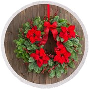 Advent Wreath With Winter Rose Round Beach Towel