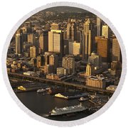 Aerial View Of Seattle Skyline Along Waterfront Round Beach Towel