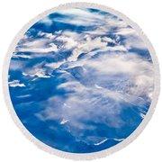 Aerial View Of Snowcapped Peaks In Bc Canada Round Beach Towel