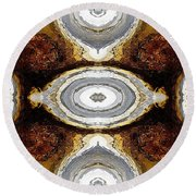 African Moon Abstract Round Beach Towel