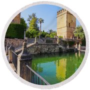 Alcazar In Cordoba Round Beach Towel