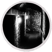 Altered Image Of The Catacomb Tunnels In Paris France Round Beach Towel