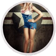 American Fashion Model In Military Pin-up Style Round Beach Towel