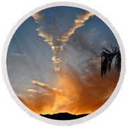 Angel Wings In The Sky Round Beach Towel