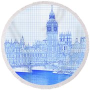 Arch Bridge Across A River, Westminster Round Beach Towel