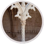 Architectural Details Of Jeronimos Monastery In Lisbon Round Beach Towel