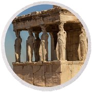 Athens, Attica, Greece. Porch Round Beach Towel