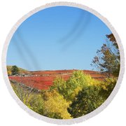 Autumn Colors In Maine Blueberry Field And Forest Round Beach Towel