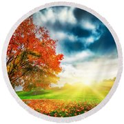 Autumn Fall Landscape In Park Round Beach Towel