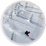 Backcountry Ski Traverse In Glacier Round Beach Towel