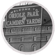 Baltimore Orioles Park At Camden Yards Round Beach Towel