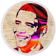 Barack Obama Round Beach Towel