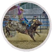 Bareback Bronc Riding Round Beach Towel