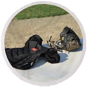 Baseball Glove And Chest Protector Round Beach Towel