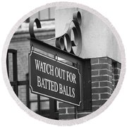 Baseball Warning Round Beach Towel