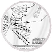 Battle Of Virginia Capes Round Beach Towel