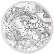 Battle Of Yorktown, 1781 Round Beach Towel