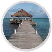 Beach Deck With Palapa Floating In The Water Round Beach Towel