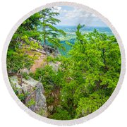 Beautiful Aerial Landscape Views From Crowders Mountain North Ca Round Beach Towel