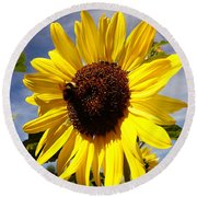 Bee On Flower Round Beach Towel by Les Cunliffe