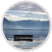 Bench With Trees On A Flooding Alpine Lake Round Beach Towel