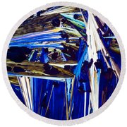 Benzoic Acid Crystals In Polarized Light Round Beach Towel