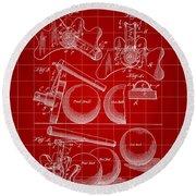 Billiard Bridge Patent 1910 - Red Round Beach Towel
