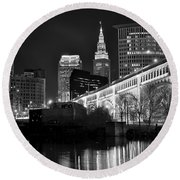 Black And White Cleveland Iconic Scene Round Beach Towel