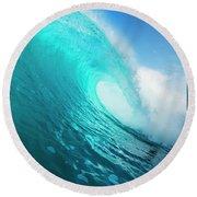Blue Ocean Wave Round Beach Towel