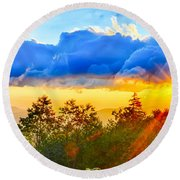 Blue Ridge Parkway Late Summer Appalachian Mountains Sunset West Round Beach Towel