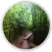 Boardwalk Passing Through Bamboo Trees Round Beach Towel