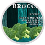 Broccoli Farm Round Beach Towel