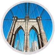 Brooklyn Bridge -  New York City Round Beach Towel