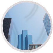 Business Skyscrapers. Round Beach Towel