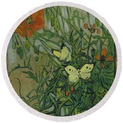 Butterflies And Poppies Round Beach Towel