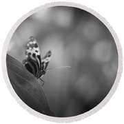 Butterfly Black And White Round Beach Towel